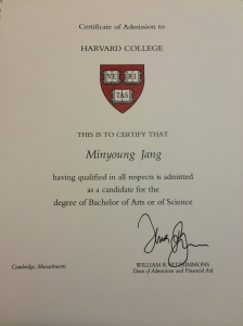 Minnie's acceptance certificate